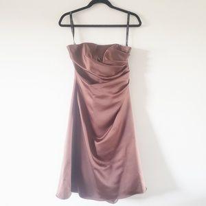 Alfred Angelo Espresso Strapless Midi Formal Dress